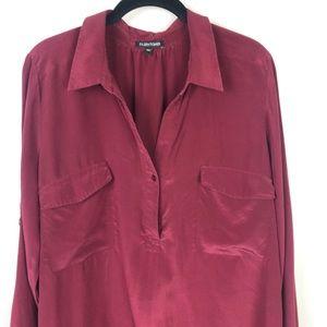 Eileen Fisher Maroon Silk Top